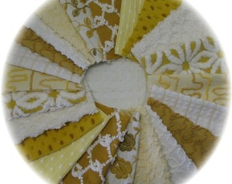 Vintage Chenille Bedspread Quilt Charm Squares Kit 22 6in DIY Lot Harvest Gold and Yellows Bates Daisy