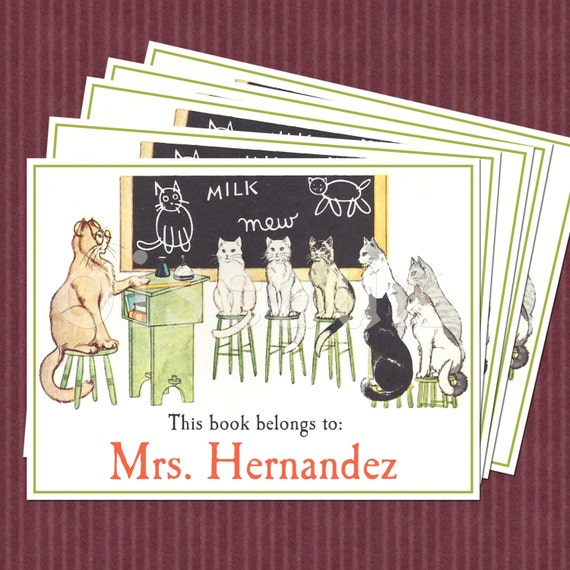 Cat School Vintage Personalized Bookplates from Oiseaux