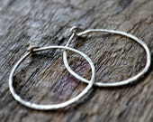 Silver Hoops, Hammered textured Sterling, Circle thin Hoop Earrings, classic staple, for women