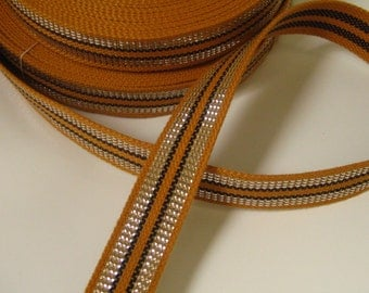 Vintage Woven Strapping-Silver & Mustard Yellow-Belts or Purse Straps
