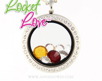 Floating Life/Journey/Memory Locket Crystal Framed Customized with Your Swarovski Crystals Birthstone . Locket Love tm