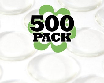 1 Inch  Clear Resin Stickers for Bottle Caps and Pendants. Glamour Dots. 500 Pack.