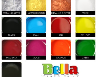 Bella Paint for Glass, Clay, and Metal. Opaque Glossy Paint, Heat Cured. Three 2 oz. Jars.