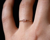 Rose Gold Tiny Ultra Thin Knot ring -- One Single Ultra Thin ring, rose gold infinity ring, gold knot ring, gold fill knot ring