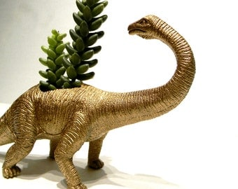 EXTREMELY LIMITED!Large Gold Dinosaur Planter for Succulents and Small Cacti Plants Great Gift for the Spring and Summer Months