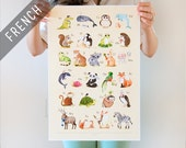 French Alphabet poster, French poster, ABC French, ABC print, French alphabet, alphabet art, abc nursery, alphabet poster, Watercolor