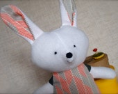 Bella Bunny - Plush Rabbit Doll - white bunny with grey and red herringbone print dress