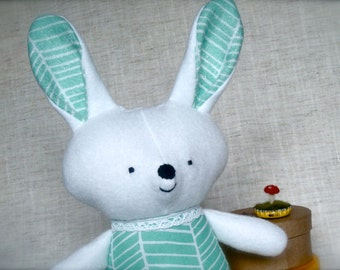 Bella Bunny - Plush Rabbit Doll - white bunny with green and white chevron print dress