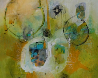 Geometric Abstract in Contemporary Colors of Yellow White Teal and Black  Letting Go  by Jodi Ohl