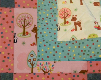 Hoos Who's in the Forest baby crib quilt / blanket in Pink or Turquoise of  cotton and flannel for animal nursery baby bedding -girl or boy
