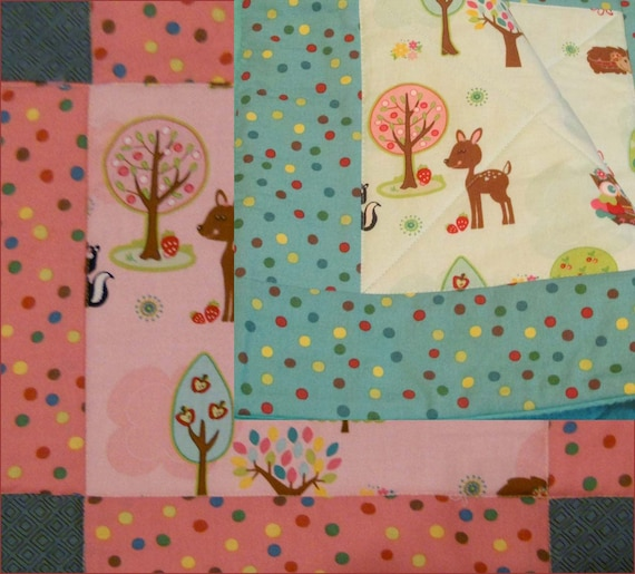 Hoos Who's in the Forest baby quilt / blanket in Pink or Turquoise of  cotton and flannel for nursery baby bedding, Crib, or Toddler Bed