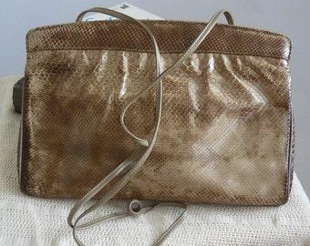 Vintage VARON Snake Skin Shoulder Bag Clutch 1980s Crossbody Purse USA Khaki Tan Medium