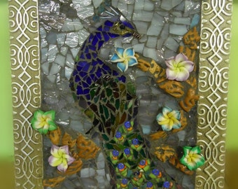 peacock stained glass mosaic micro mosaic small 4 by 6 framed original spontaneous art