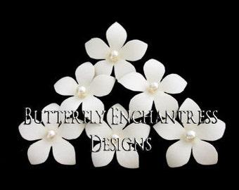 Bridal Hair Piece, Wedding Hair Accessory, Ivory Hair Flowers - 6 Ivory Harper Jasmine Flower Hair Pins - Pearl Center