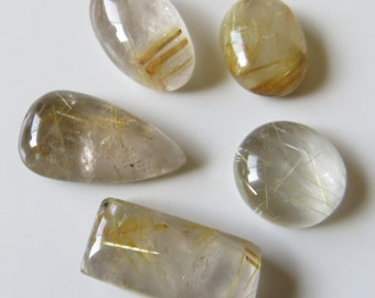 Golden Rutilated Quartz - Lot of Five Cabochons, 53.0 cts (GR359)