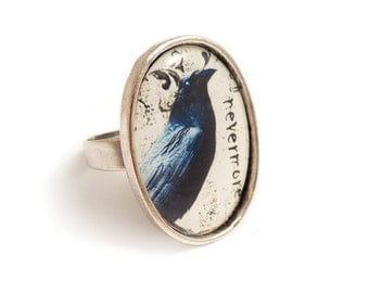 Gothic ring, Raven NEVERMORE ring Edgar Allan Poe gothic silver adjustable goth unisex