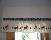 hand stenciled moose pinetree balsam northwoods kitchen decor lake lodge cabin mountain kitchen curtain valance valence