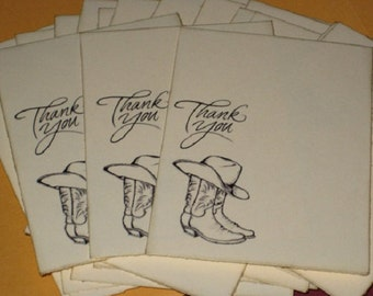 25 Thank You Cowboy Boots and Hat  Gift cards Tags