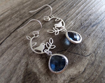 Blue Bird Jewelry Earrings - Silver Bird - Twig Charm - Blue Sapphire - September Birthstone - Woodland Earrings - Sparrow - Gift for Her