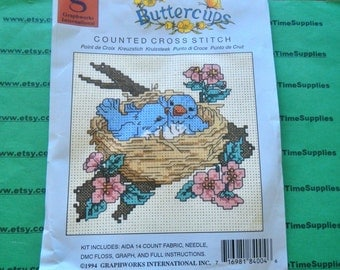 Graphworks International - BC4 Buttercup Bluebird in Nest counted cross stitch kit 64 x 59 stitch count 1 kit