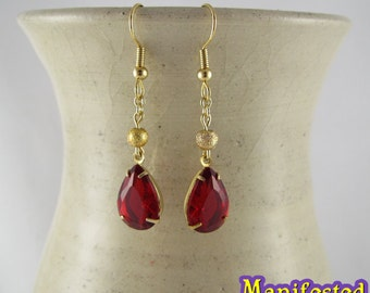 Red Crystal Earring gold tone Princess Mars Sailor Moon Cosplay