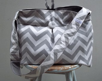 Reserved - Grey Chevron Diaper Bag Extra Large - 9 Pockets