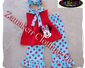 Custom Boutique Girls Clothing Minnie Mouse Tunic Smocked Top Ruffle Pant Outfit Set 3 6 9 12 18 24 month size 2T 2 3T 3 4T 4 5T 5 6 7 8