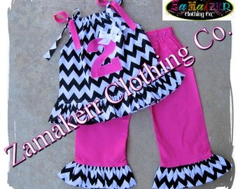 Custom Boutique Girl Black Pink Chevron Outfit Set Summer Clothing Halter Gift Baby Birthday Pant Size 6 9 12 18 24 month 2T 3T 4T 5T 6 7 8