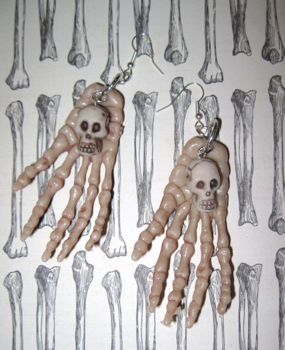 Skulls & Bones Earrings Skeleton Hands Halloween Jewelry Creepy Dead Hands Jewelry FREE SHIPPING To USA/Canada