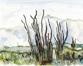 Hazy Mountains // a watercolour painting / ooak / original / home / steppe