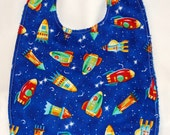 Youth/Junior Boy Bib, Special Needs, Cerebral Palsy, 14-in/35cm neck : Rocketships on Bright Blue