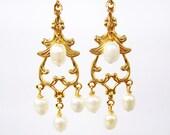 Pearl Chandelier Clip-on Earrings, Gold Ear Clips, White Freshwater Pearl Dangle Clipons, Wedding Clip Earrings, Handmade, Jolie