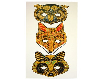 Forest Masks Cutout Poster