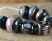 Handmade stoneware ceramic beads Black with Blue and Pink (8)