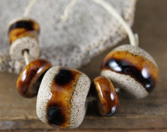 Coffee Brown handmade stoneware beads (5)