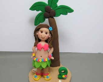 Hula Luau Girl Birthday Cake Topper with Palm Tree Made To Order