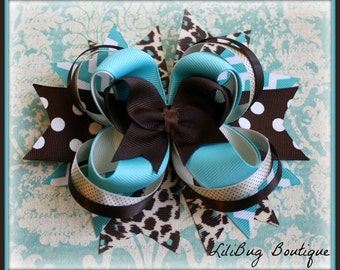 LiliBug Turquoise and Brown Cheetah Stacked Hair Bow - Ready to Ship