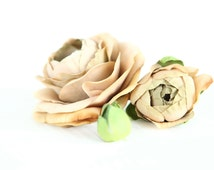 Set of THREE Silk Ranunculus in Taupe With Brown Accents - Bud to Bloom - Flower Crown Supplies, Bouquet Filler - ITEM 0539