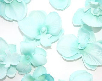 10 Mini Orchids in Mint Blue - some LESS THAN PERFECT - Phalaenopsis Orchid, silk flowers, artificial flowers