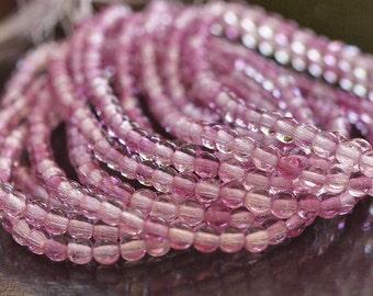 Czech Glass Bead Fuchsia Crystal 4mm Round Druk : 50 pc