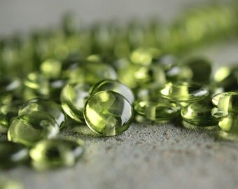 Olivine Czech Glass Bead 6mm Lentil : 50 pc