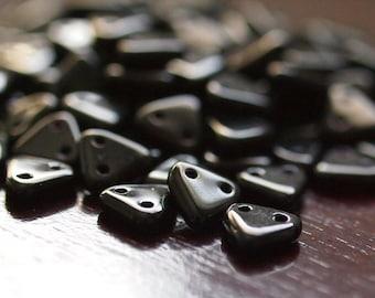 Jet Black Czechmates Triangle 2 Hole Czech Glass 6mm Bead : 50 Beads