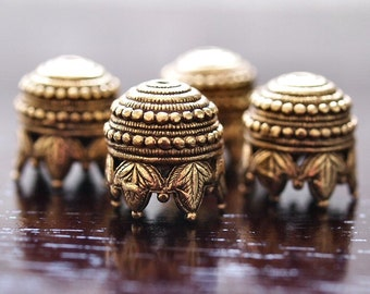 Maharaja Antique Gold Plated Pewter 10mm Bead Cap :  4 pc Large Pewter Beadcap