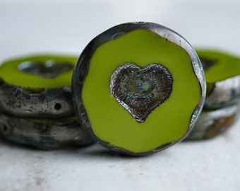 Chartreuse Heart Czech Glass Chunky Bead 21mm Picasso Coin : 2 pc
