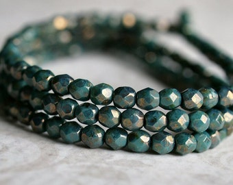 Turquoise Bronze 4mm Czech Glass Faceted Round Bead : 50 pc Turquoise Round Bead