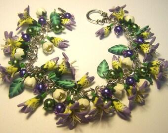 Purple Asiatic Lily Charm Bracelet