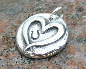 Hoof Print on my Heart Pendant, Heart Hoofprint Charm, Rustic Horse Jewelry, Horse Lover Gift