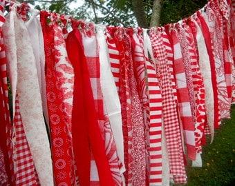 Birthday Photo Prop, Peppermint Rag Tie Garland, Rag Fringe Garland, Fabric Garland, Photography Prop