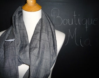 SAMPLE - Infinity SCARF - Lightweight Charcoal - by Boutique Mia and More - Ready To Ship