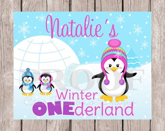 PRINTABLE Penguin Birthday Sign / Winter ONEderland Penguin Sign / Pink, Purple and Blue / Personalized with Name / You Print - 0013
